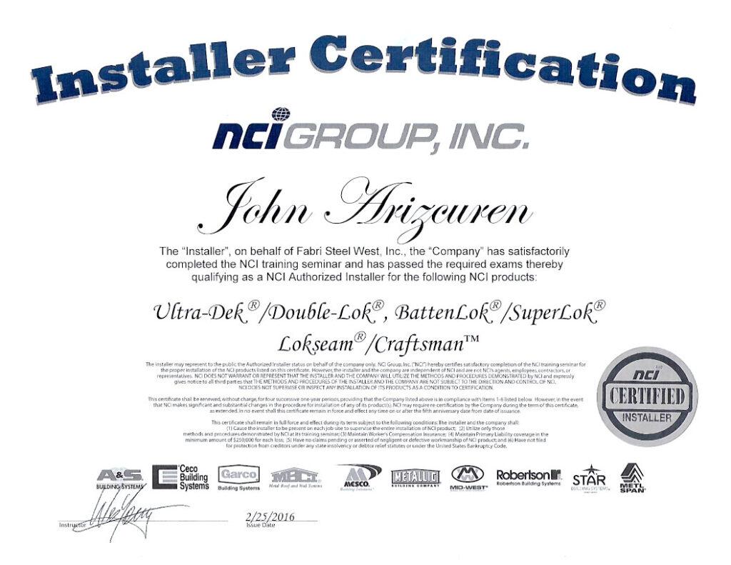 Fabri Steel Metal Build Certification